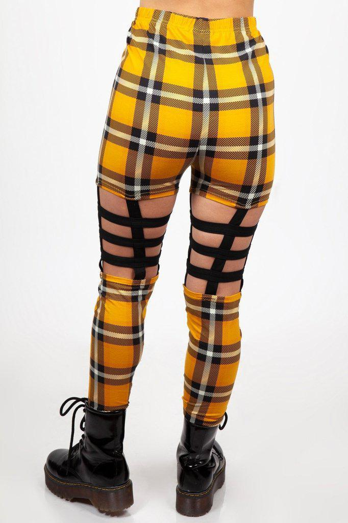 Plaid Cage Leggings-Jawbreaker-Dark Fashion Clothing