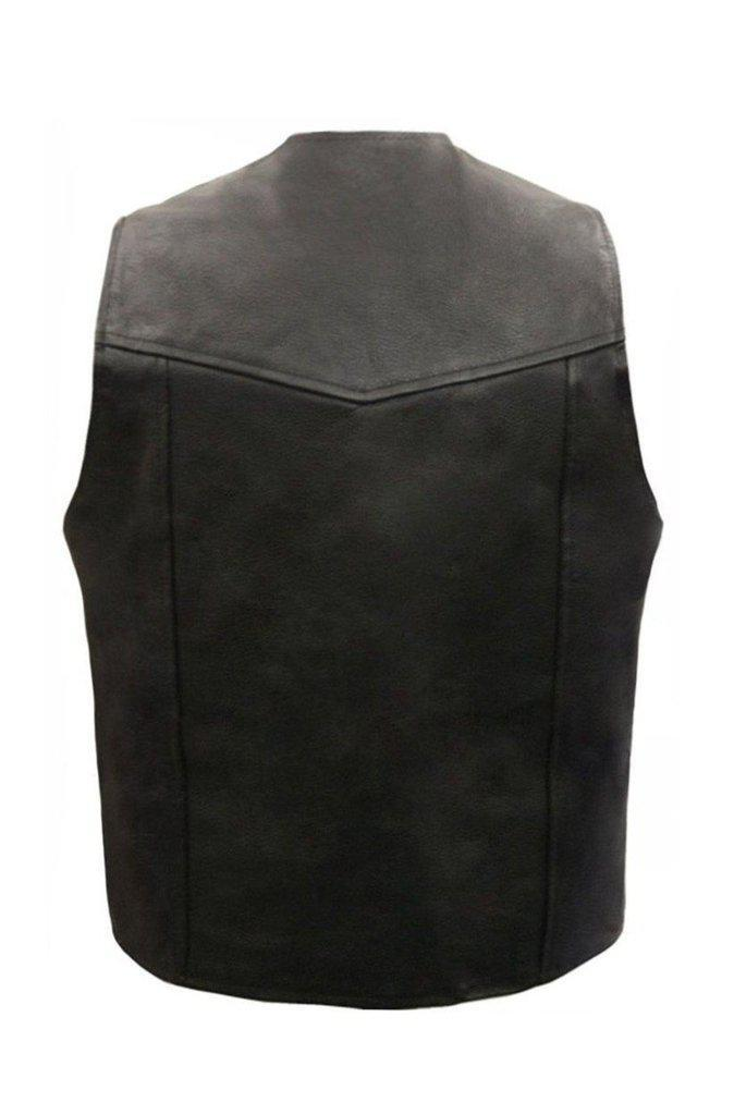 Plain Leather Biker Vest-Skintan Leather-Dark Fashion Clothing