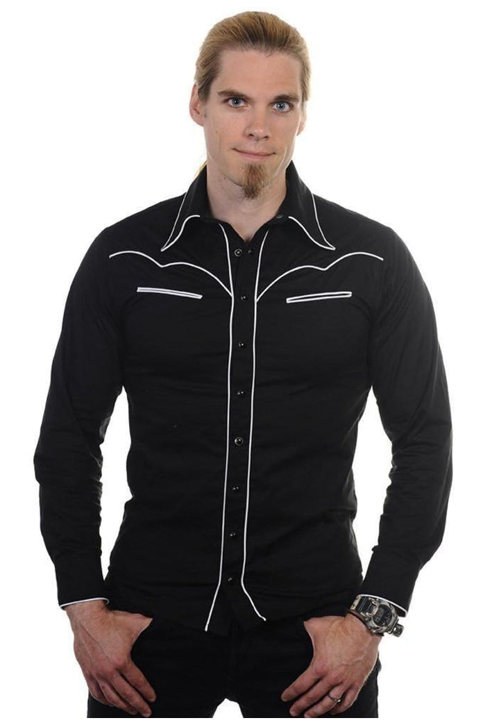 Plain Trim Shirt-Banned-Dark Fashion Clothing