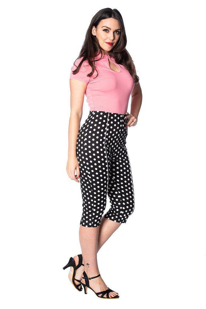 Polka Love Capris-Banned-Dark Fashion Clothing