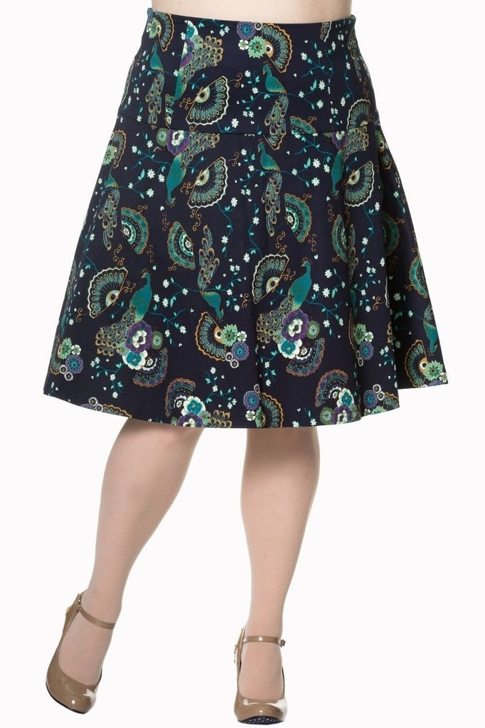 Proud Peacock Plus Size Skirt-Banned-Dark Fashion Clothing