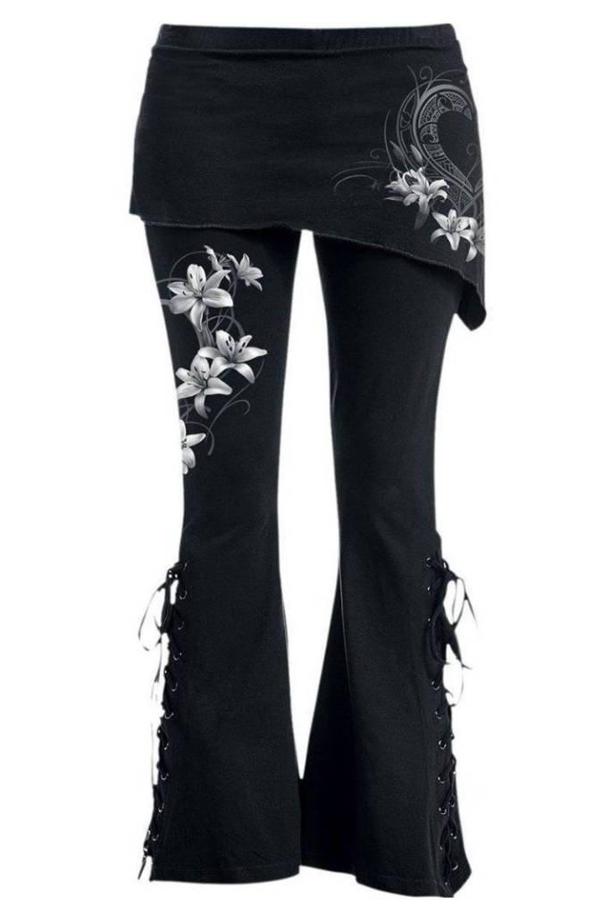 Pure Of Heart - 2In1 Boot-Cut Leggings With Micro Slant Skirt-Spiral-Dark Fashion Clothing