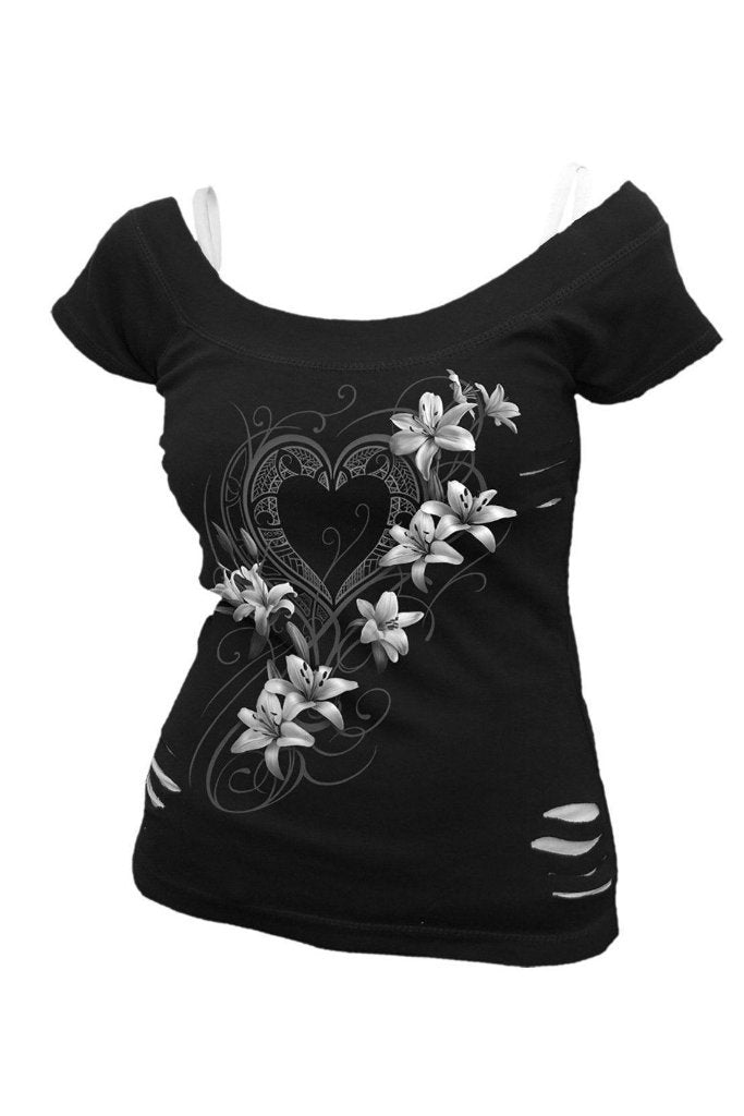 Pure Of Heart - 2In1 White Ripped Top Black-Spiral-Dark Fashion Clothing