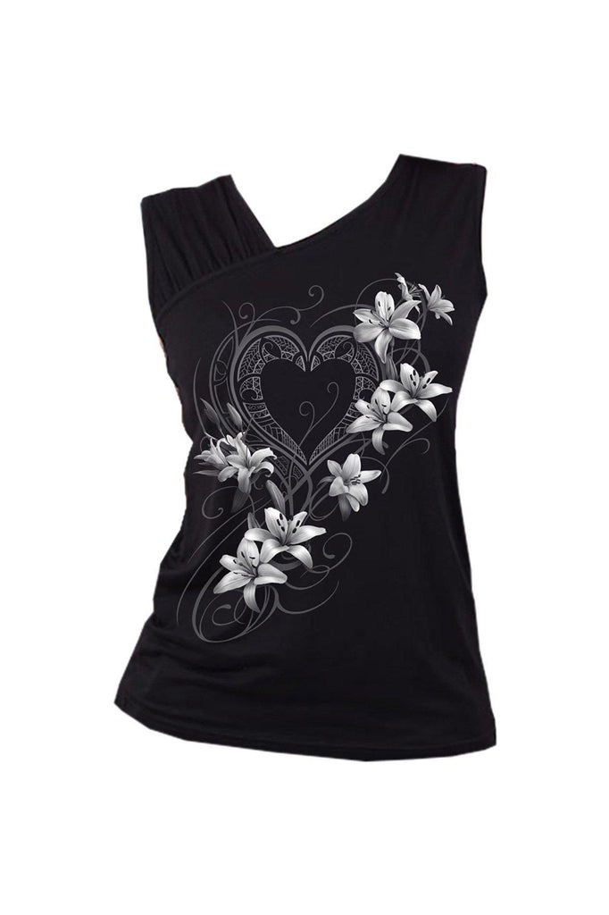 4158712cb0ba2 ... White Ripped Top BlackSpiral from £18.99. Pure Of Heart - Gathered  Shoulder Slant Vest Black