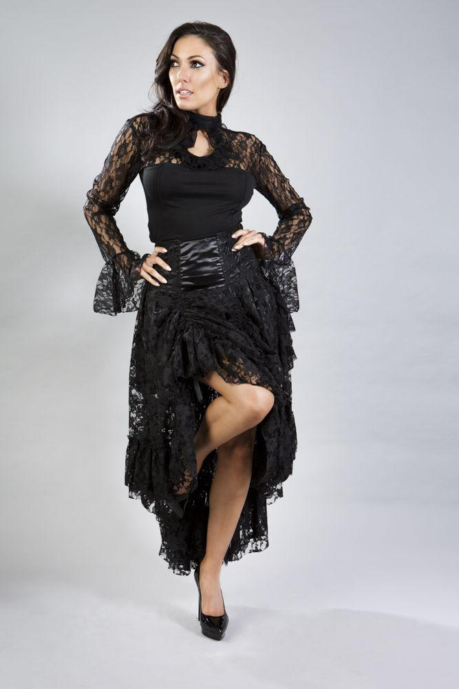 Queen Maxi Skirt In Black Lace-Burleska-Dark Fashion Clothing