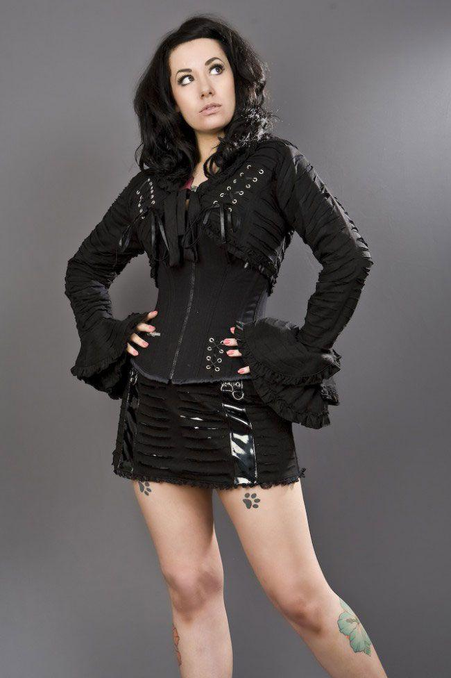 Razor Gothic Bolero Jacket In Black Cotton-Burleska-Dark Fashion Clothing