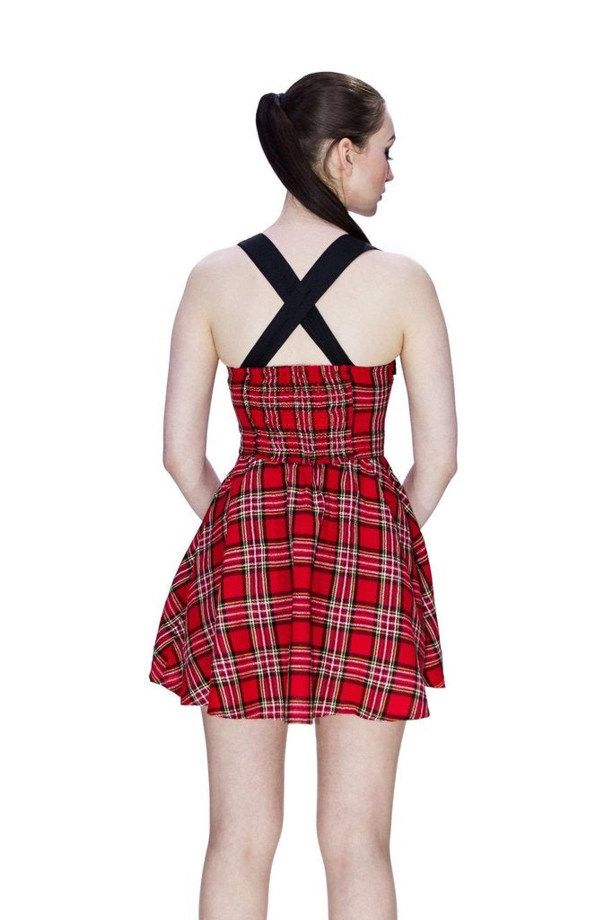 Rebel Red Tartan Mini Dress - Harmony-Dr Faust-Dark Fashion Clothing