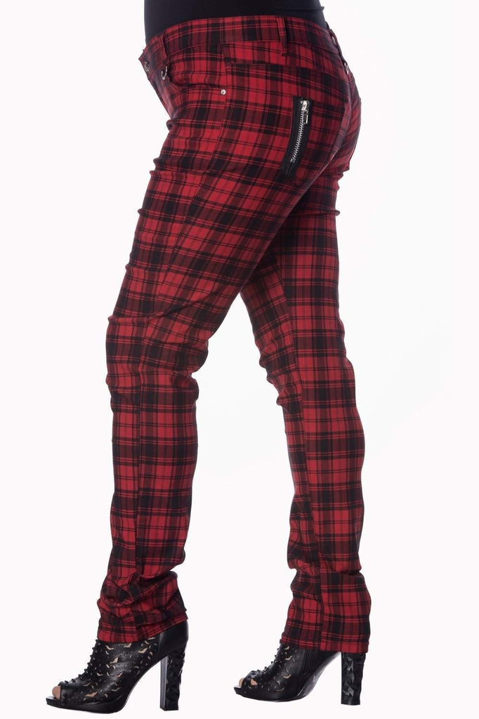 Red Check Plus Size Skinny Jeans-Banned-Dark Fashion Clothing