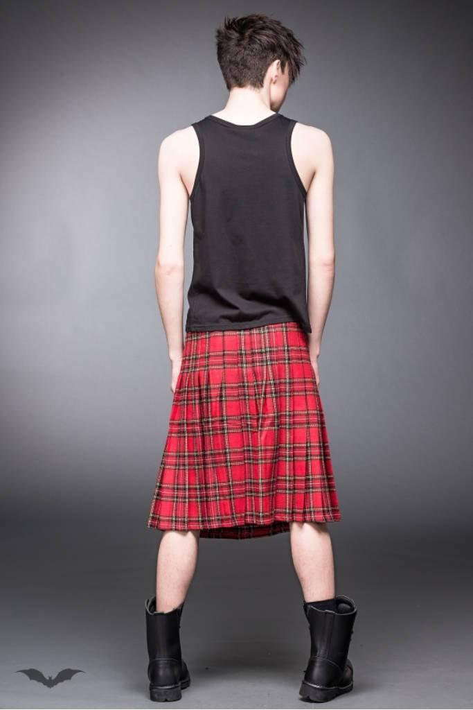 Red Chequered Kilt-Queen of Darkness-Dark Fashion Clothing