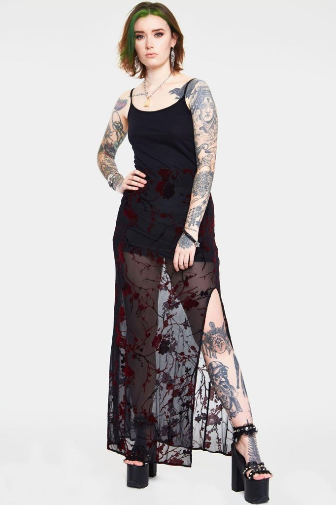 Red Floral Burnout Slit Skirt-Jawbreaker-Dark Fashion Clothing