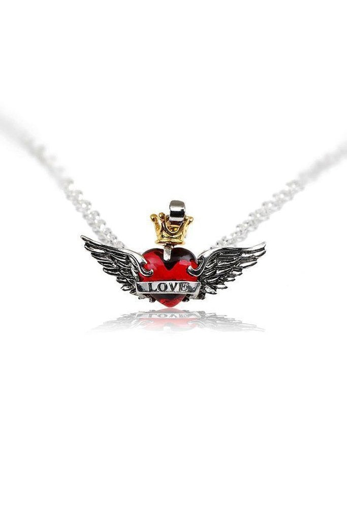Red Heart Wings Crown Love Pendant and Necklace - Amira-Dr Faust-Dark Fashion Clothing