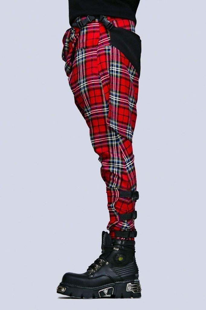 Red Tartan Clip Pants - Unisex-Long Clothing-Dark Fashion Clothing