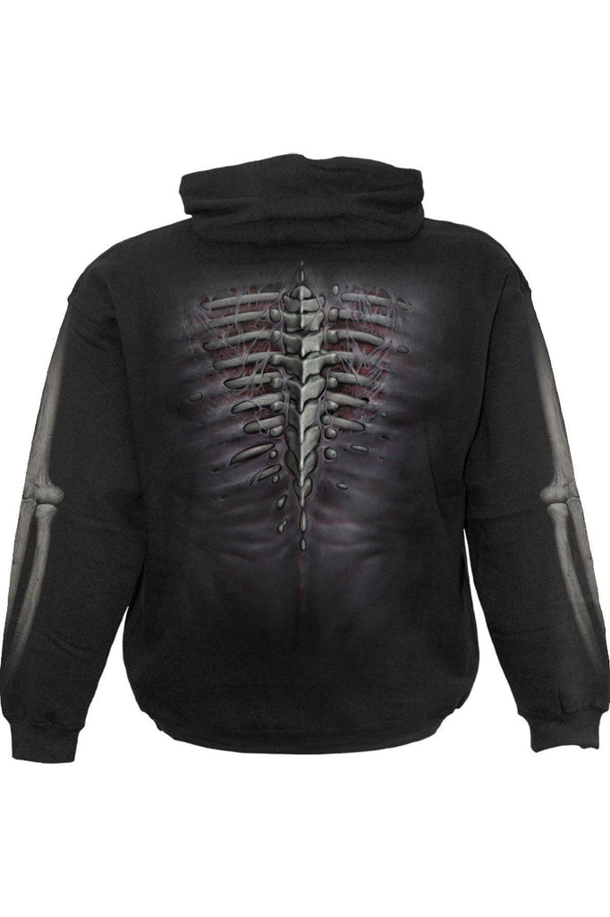 Ripped - Side Pocket Hoody Black-Spiral-Dark Fashion Clothing