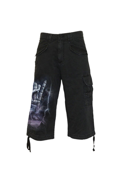 Rock Eternal - Vintage Cargo Shorts 3/4 Long Black-Spiral-Dark Fashion Clothing