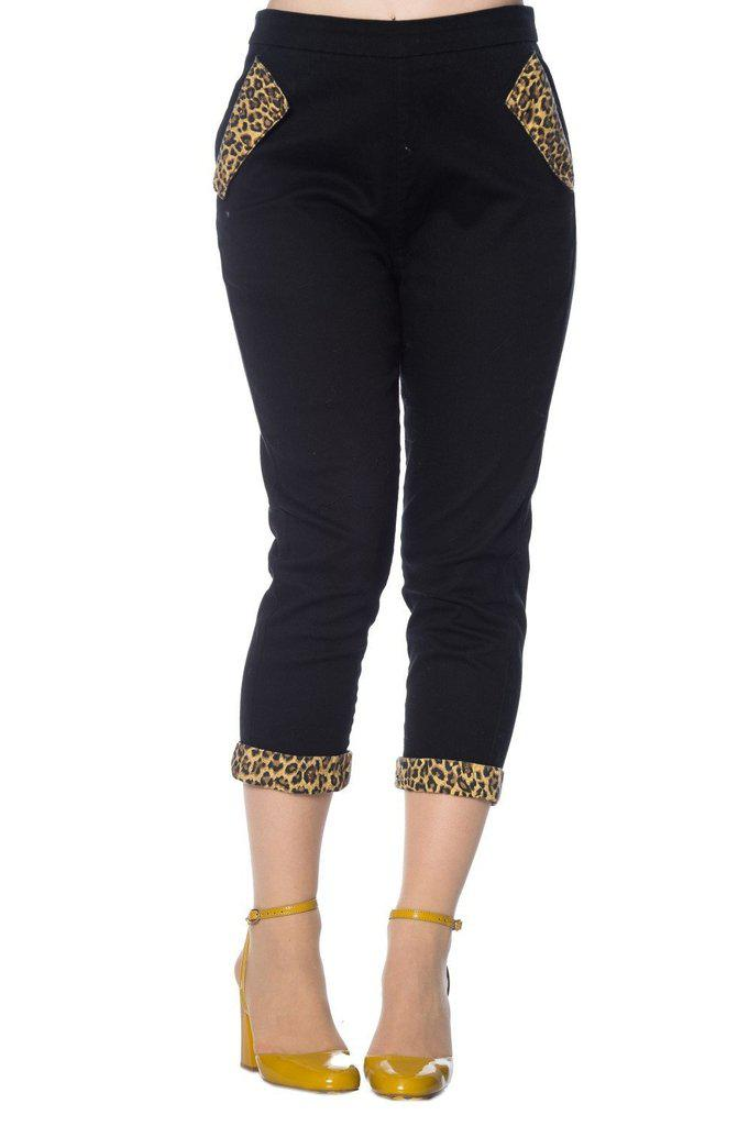 Rock N Roll Leopard Denim Capri Pants-Banned-Dark Fashion Clothing