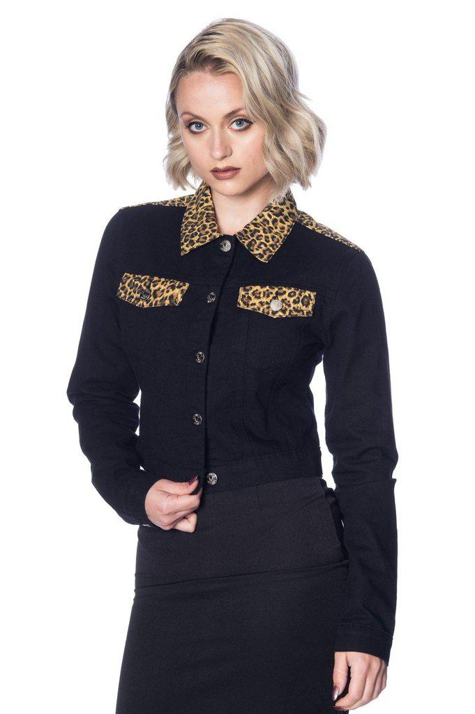 Rock N Roll Leopard Denim Jacket-Banned-Dark Fashion Clothing