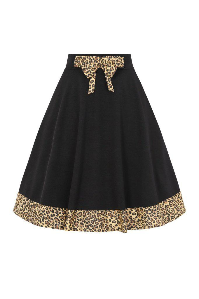 Rock N Roll Leopard Swing Skirt-Banned-Dark Fashion Clothing