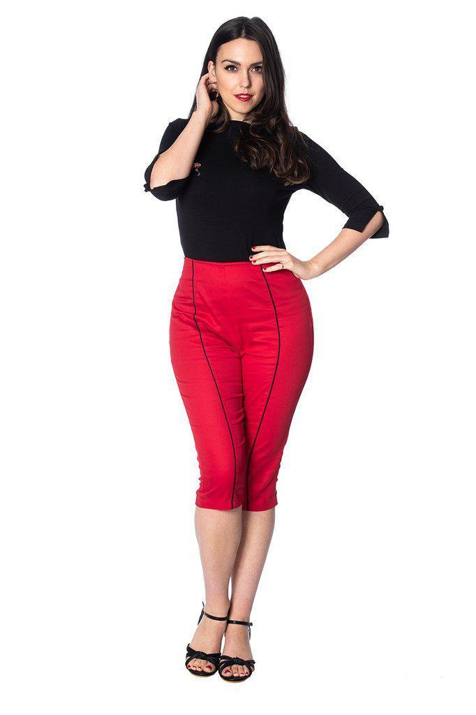 Rockin Red Capris-Banned-Dark Fashion Clothing