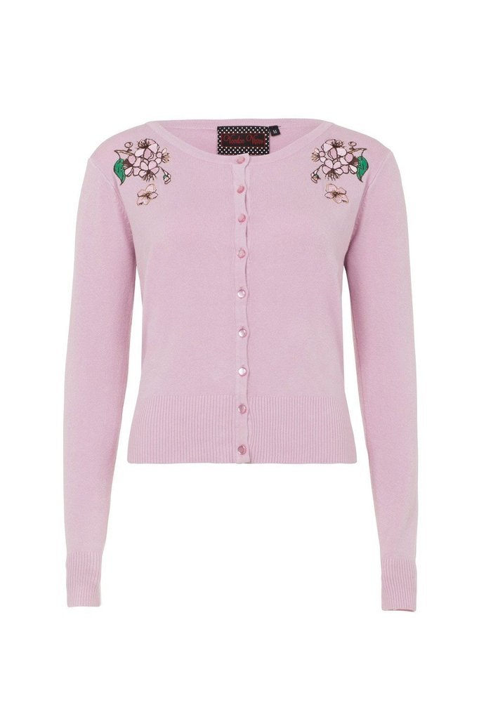 Rosamund Pink Embroidered Plus Size Cardigan-Voodoo Vixen-Dark Fashion Clothing
