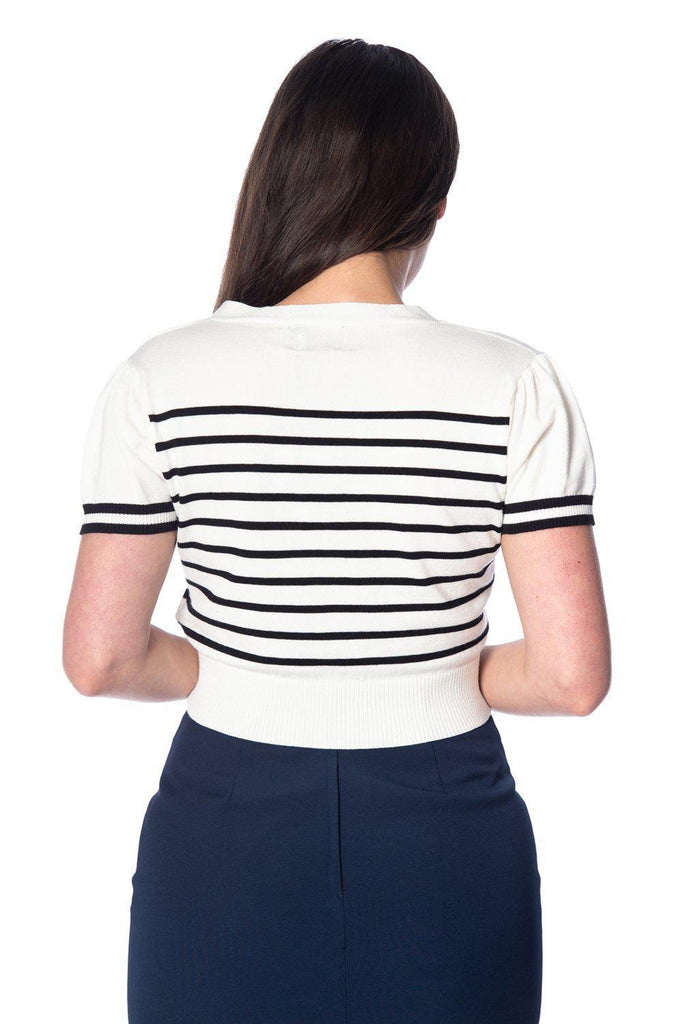 Sailor Stripe Tie Top-Banned-Dark Fashion Clothing