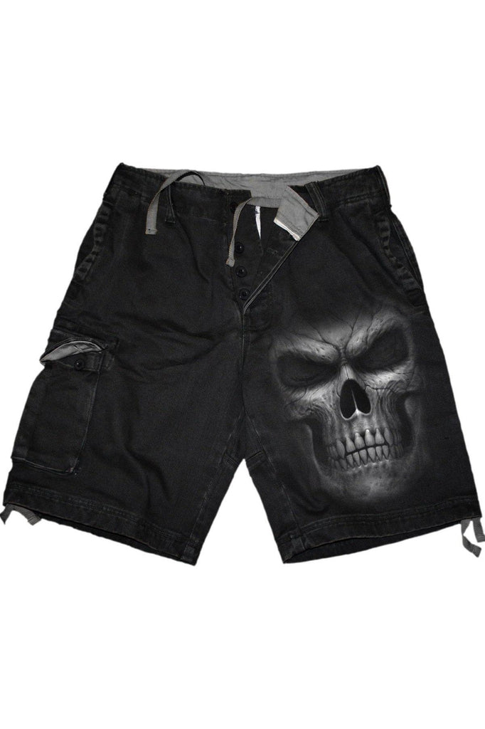 Shadow Master - Vintage Cargo Shorts Black-Spiral-Dark Fashion Clothing