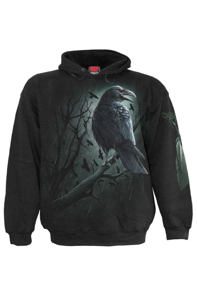 Shadow Raven - Hoody Black-Spiral-Dark Fashion Clothing