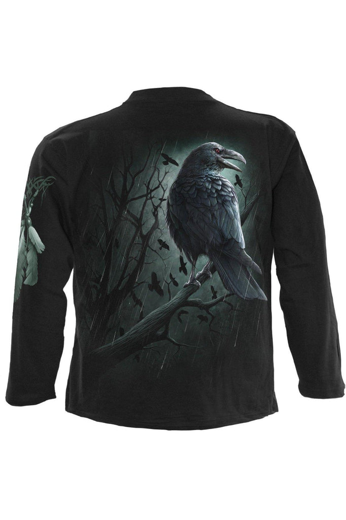 Shadow Raven - Longsleeve T-Shirt Black-Spiral-Dark Fashion Clothing