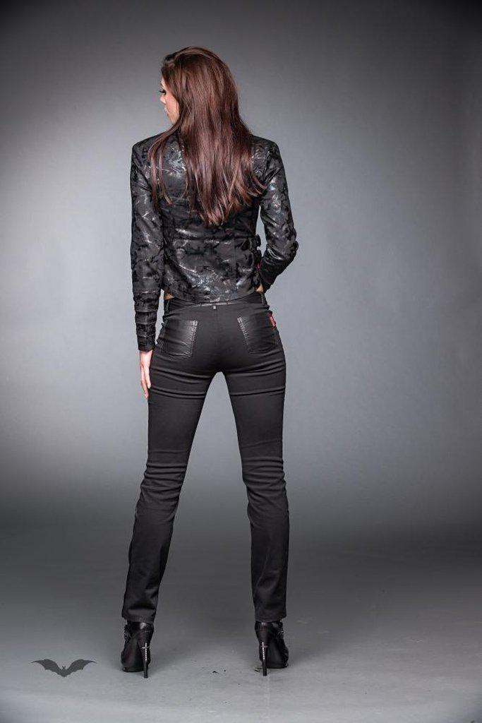 Shiny Military Look Jacket With Buckles-Queen of Darkness-Dark Fashion Clothing