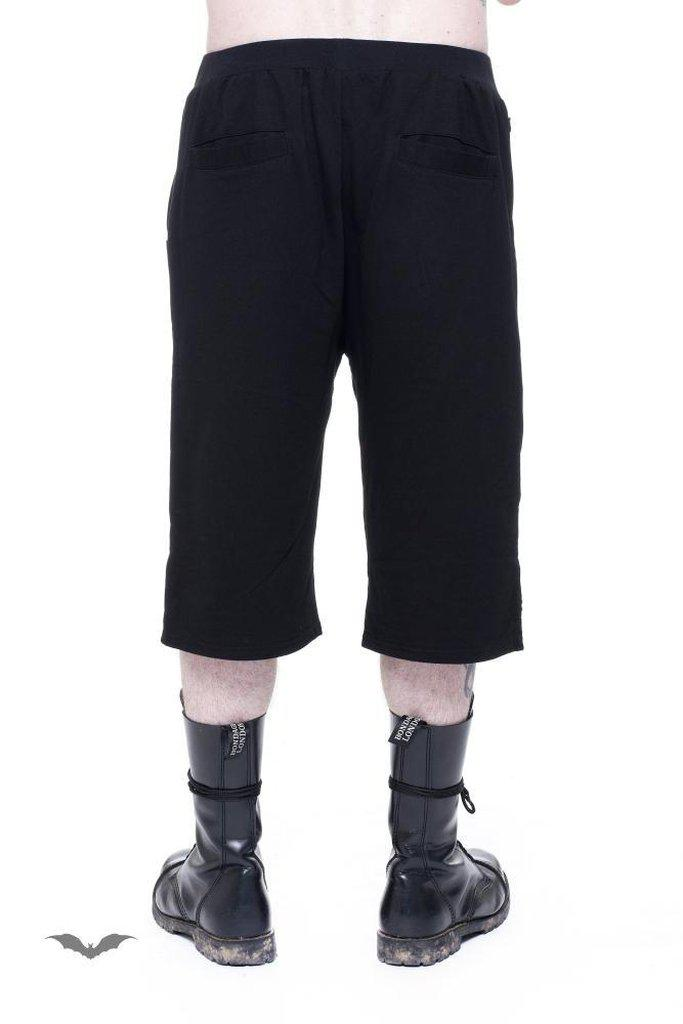Short Men Trousers With Fake-Leather App-Queen of Darkness-Dark Fashion Clothing