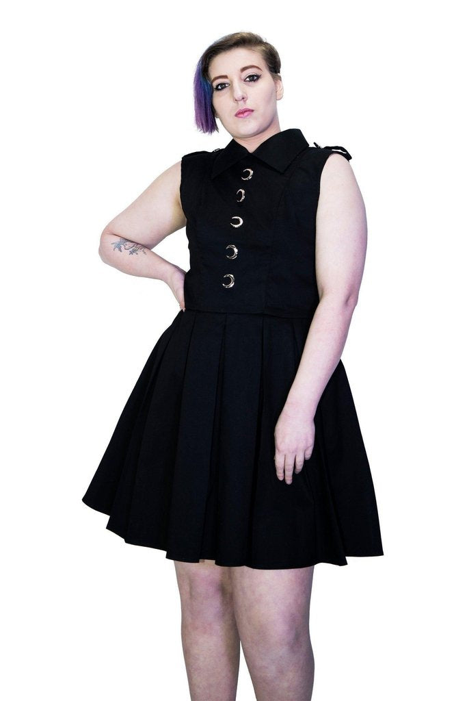 Silver Moon Buttons Black Plus Size Midi Dress - Vanda-Dr Faust-Dark Fashion Clothing