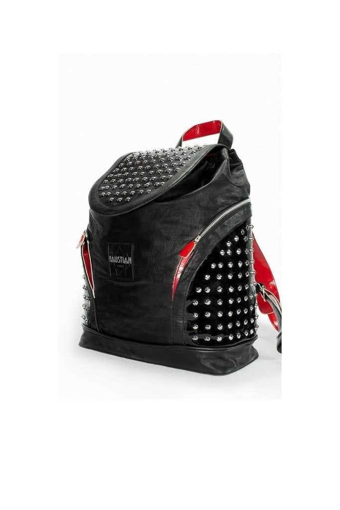 Silver Round Studs Black Vegan Leather Backpack - Fenella-Dr Faust-Dark Fashion Clothing