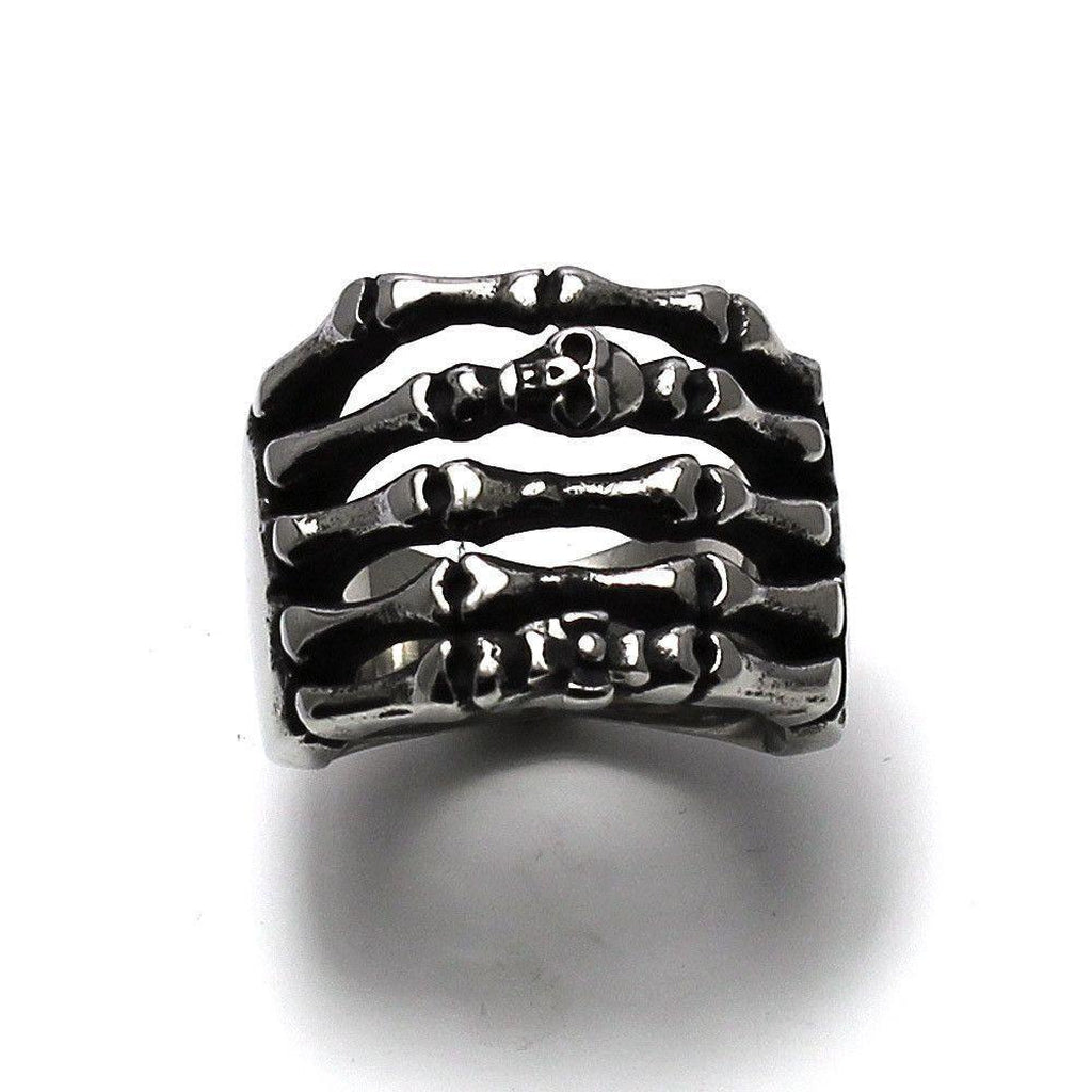 Skeletal Hand Skull Ring - Stainless Steel-Badboy-Dark Fashion Clothing