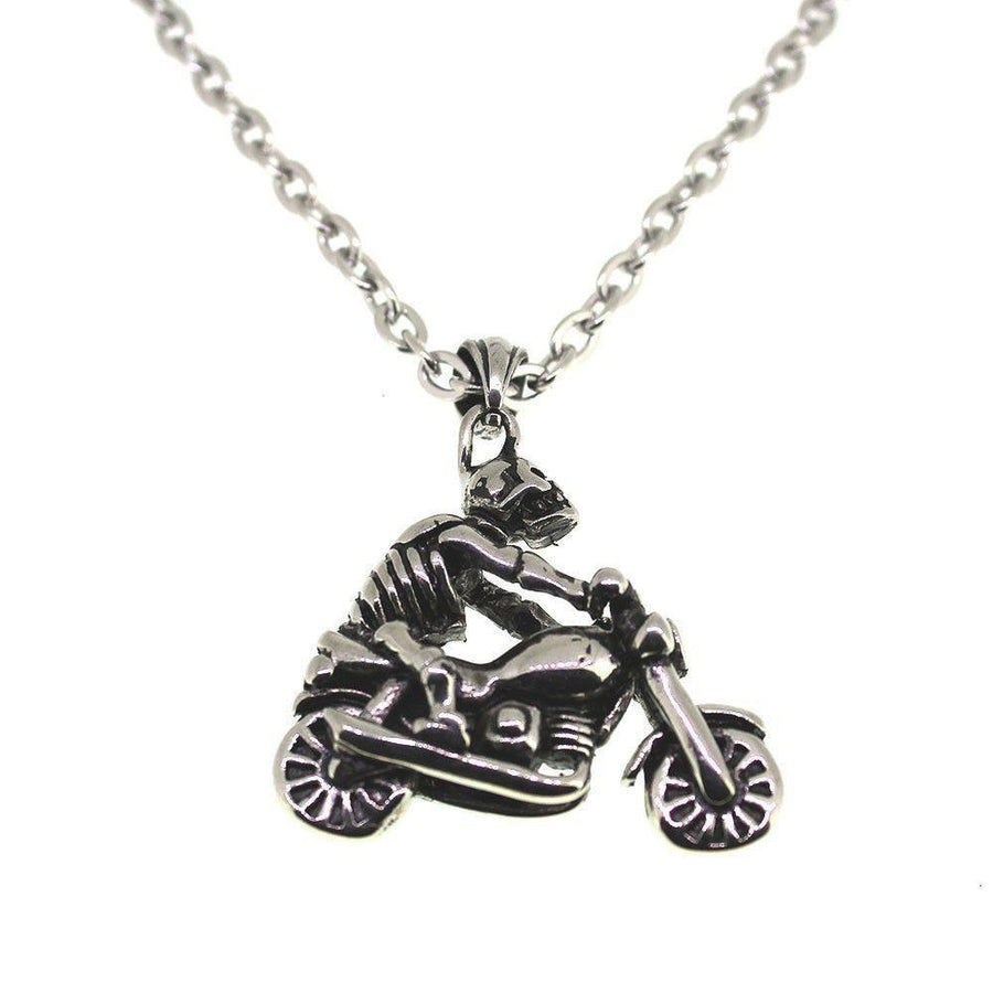 Skeleton Biker Pendant - Stainless Steel