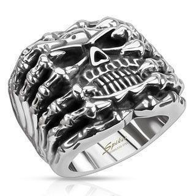 Skeleton Hands Holding Skull Ring-Spikes-Dark Fashion Clothing