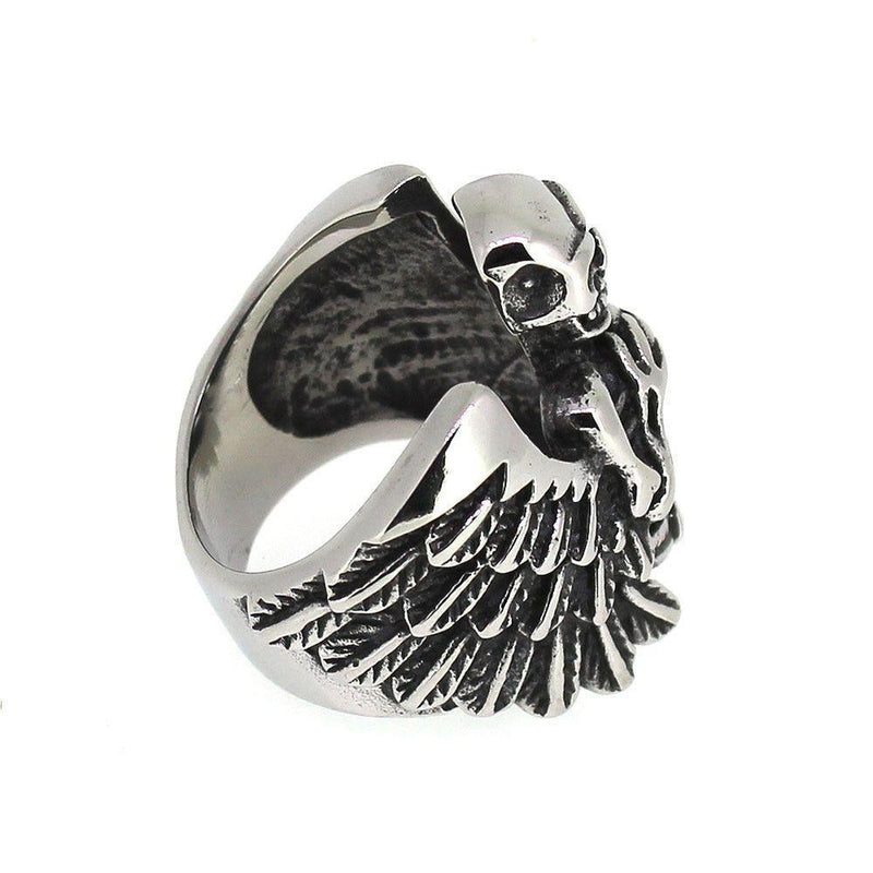 Skeleton Ring With Wings & Gemstone - Stainless Steel-Badboy-Dark Fashion Clothing