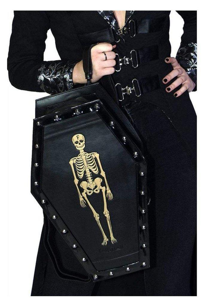 Skellington Vegan Leather Coffin Backpack - Jack-Dr Faust-Dark Fashion Clothing
