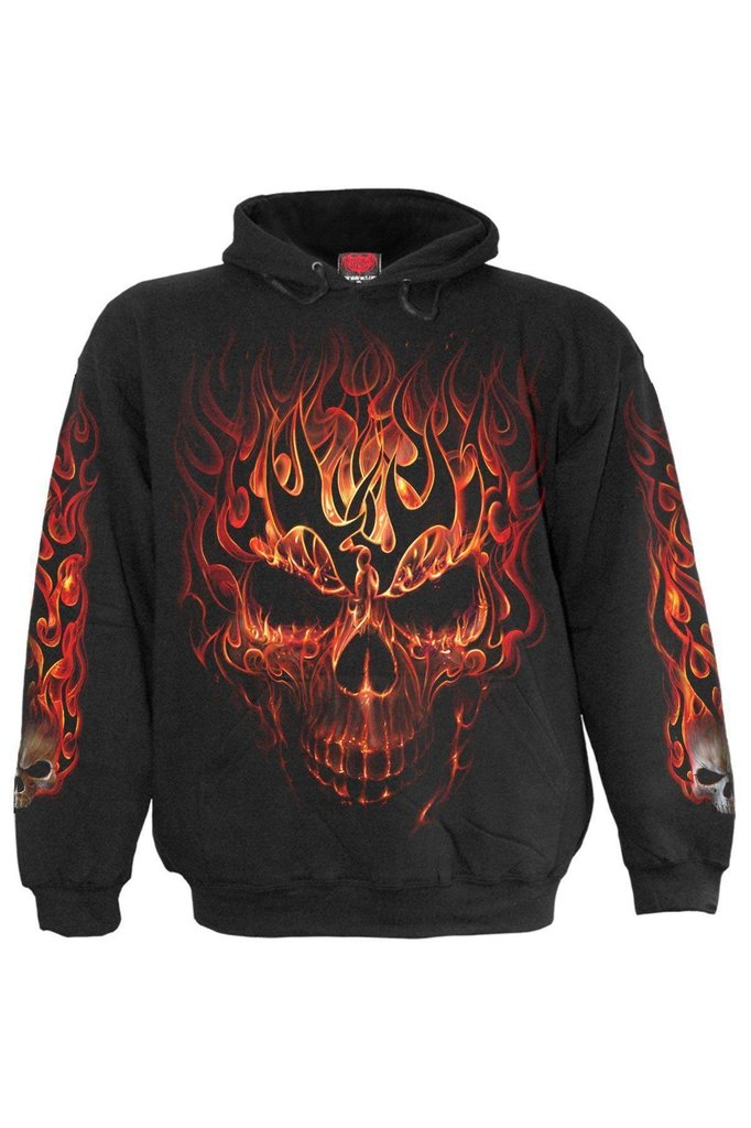 Skull Blast - Hoody Black-Spiral-Dark Fashion Clothing
