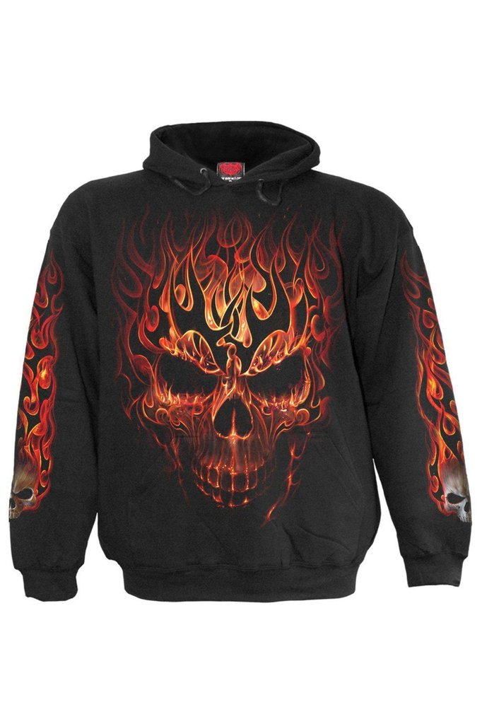Skull Blast - Kids Hoody Black-Spiral-Dark Fashion Clothing