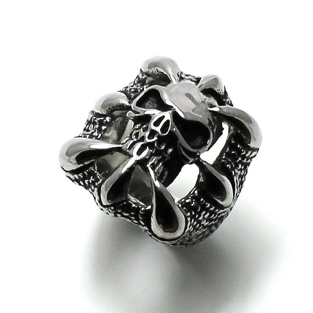 Skull in Claws Ring - Stainless Steel-Badboy-Dark Fashion Clothing
