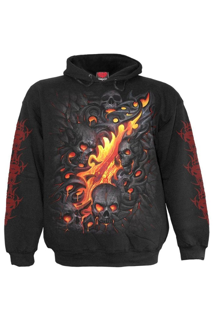 Skull Lava - Hoody Black-Spiral-Dark Fashion Clothing