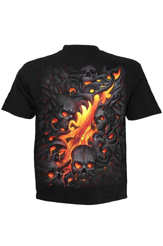 Skull Lava - T-Shirt Black-Spiral-Dark Fashion Clothing