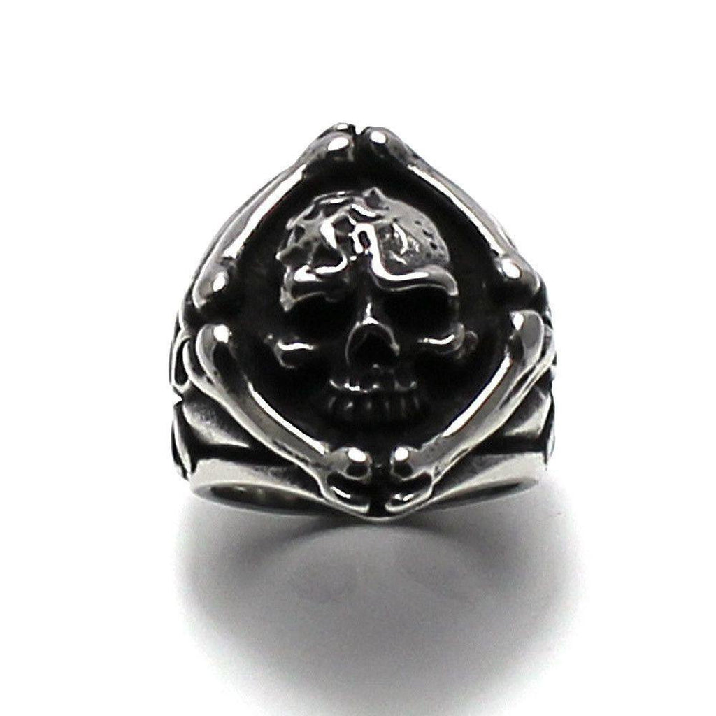Skull Ring with Bones - Steel-Badboy-Dark Fashion Clothing