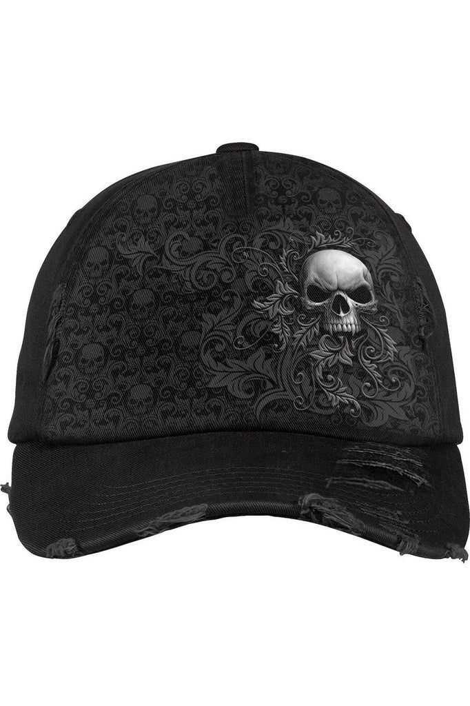 Skull Scroll - Baseball Caps Ditressed With Metal Clasp-Spiral-Dark Fashion Clothing