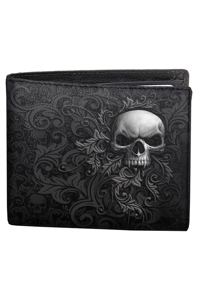 Skull Scroll - Bifold Wallet With Rfid Blocking And Gift Box-Spiral-Dark Fashion Clothing