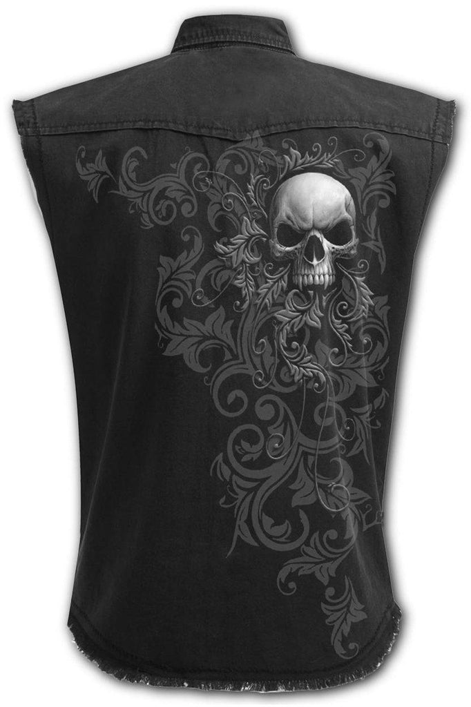 Skull Scroll - Sleeveless Stone Washed Worker Black-Spiral-Dark Fashion Clothing