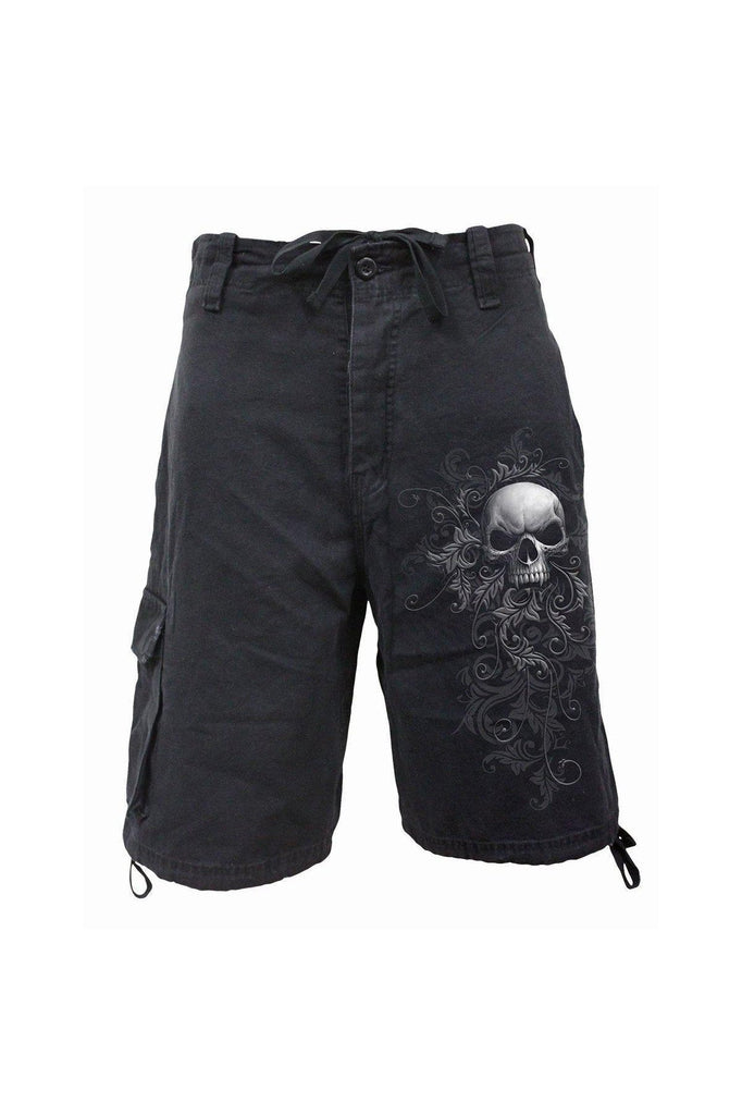 Skull Scroll - Vintage Cargo Shorts Black-Spiral-Dark Fashion Clothing