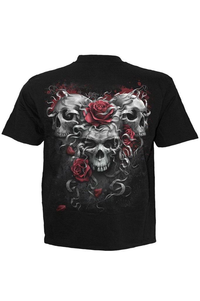 Skulls N Roses - T-Shirt Black-Spiral-Dark Fashion Clothing