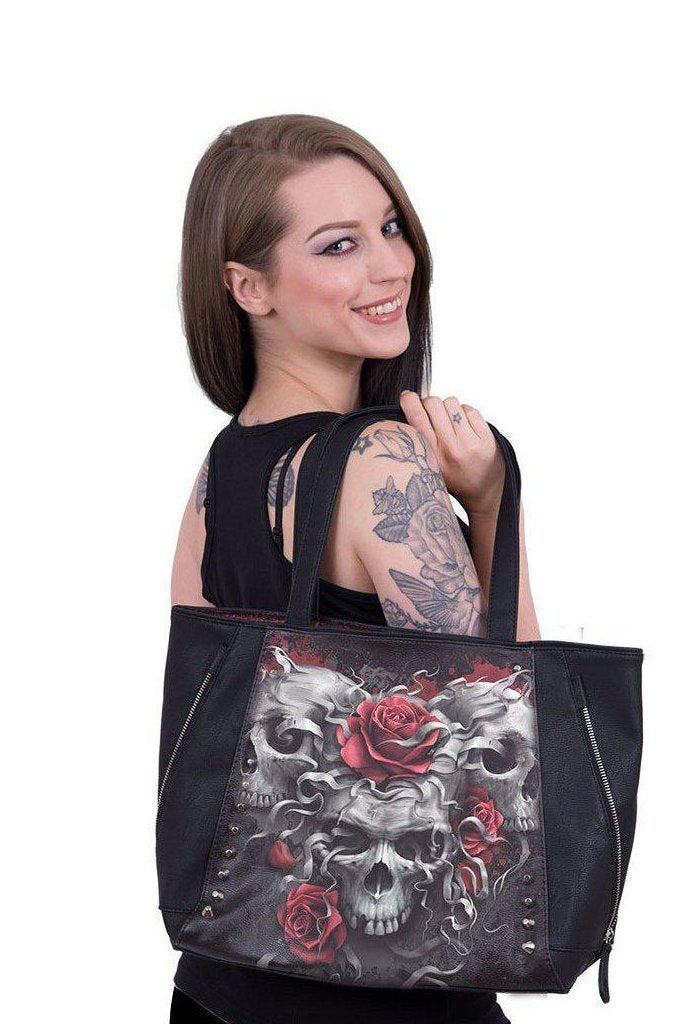 Skulls N' Roses - Tote Bag - Top Quality Pu Leather Studded-Spiral-Dark Fashion Clothing