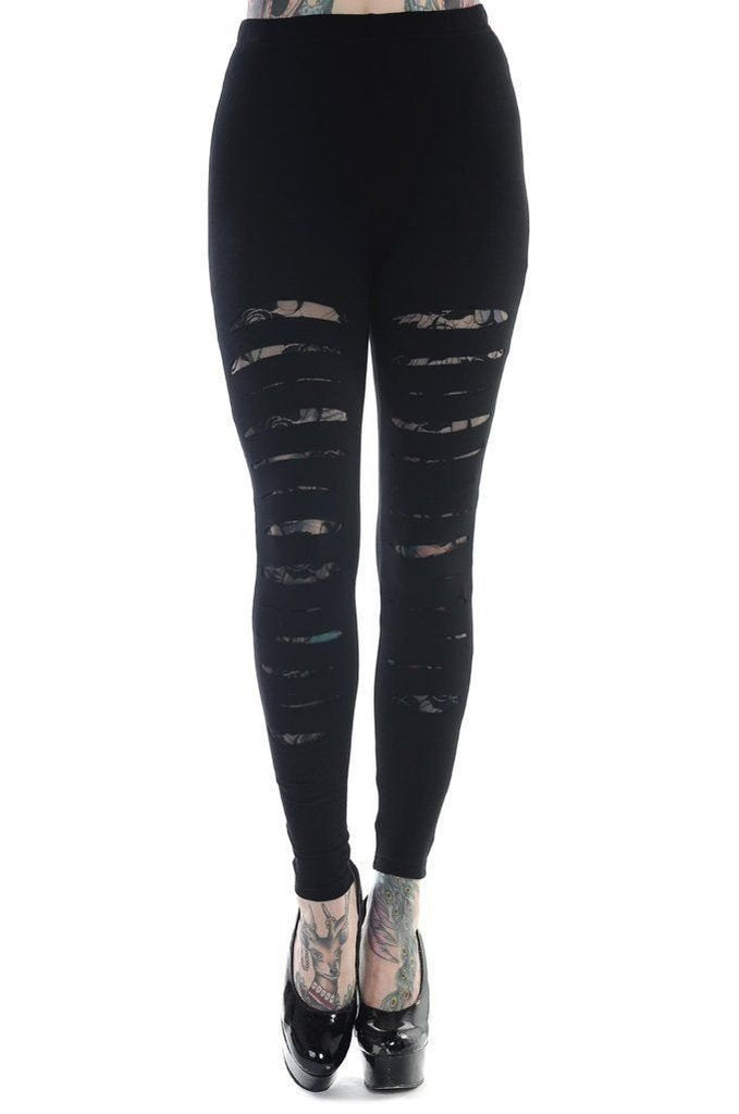 Slashed Black Leggings-Banned-Dark Fashion Clothing