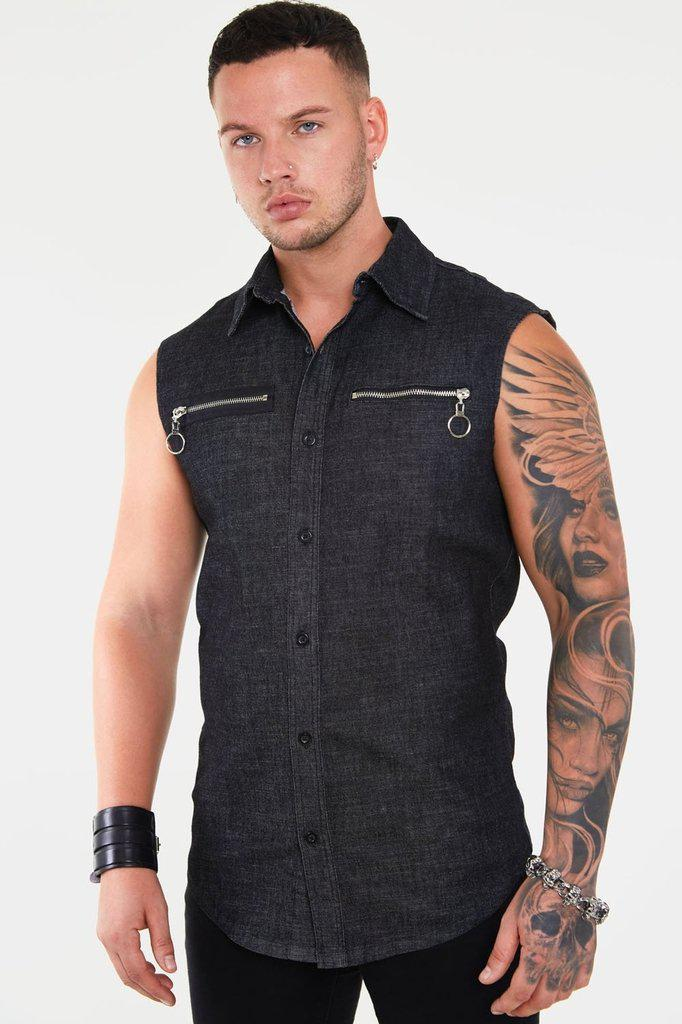 Sleeveless Denim Shirt-Jawbreaker-Dark Fashion Clothing